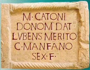 L'epigrafe di Gaio, figlio di Sesto Manfrano, a Catone.